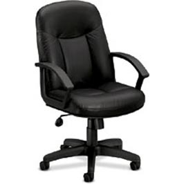 Ergonomic Executive Mid-Back Black Leather Chair