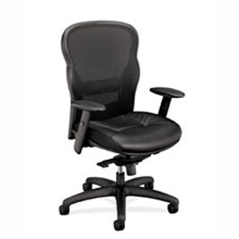 Ergonomic High-Back Chair with black leather seat and mesh back