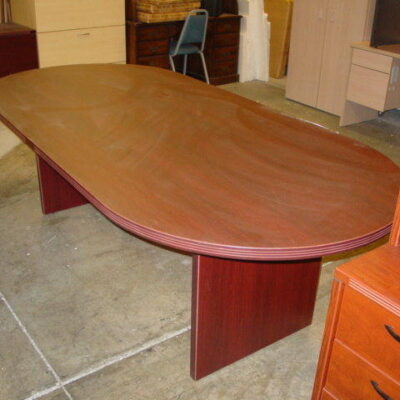 8' Oval conference table mahogany laminate