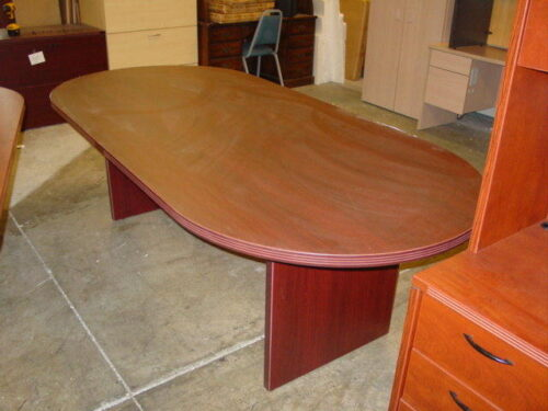 8' oval cherry conference table