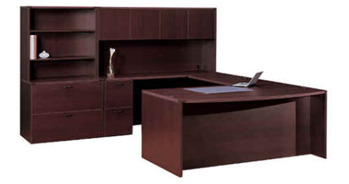 Executive bow front u w/ hutch & lateral file w/ hutch
