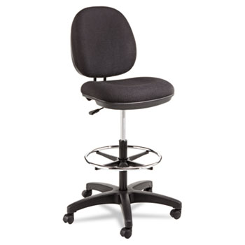 This drafting stool is designed to fit in tight workspaces. · Molded plastic shell resists impact. · Waterfall seat edge helps relieve pressure points on the underside of legs.