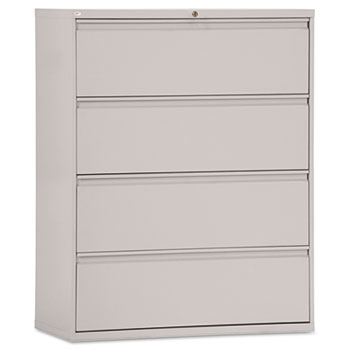 """Four-Drawer Lateral File 42""""w Light Gray"""
