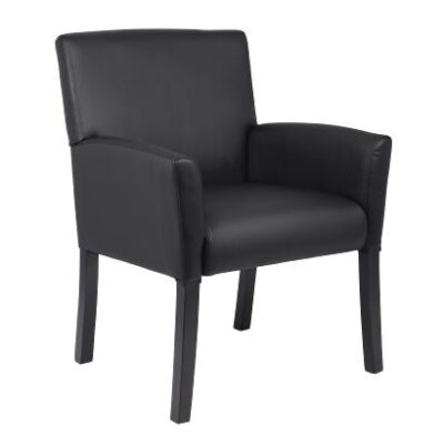 Mid back box arm chair. Black with Black finished wood legs.