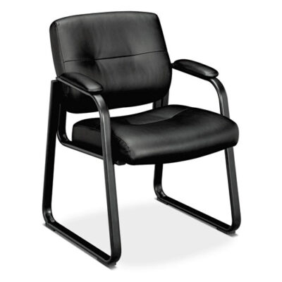 BV693 Black Leather Guest Chair with Padded Arms