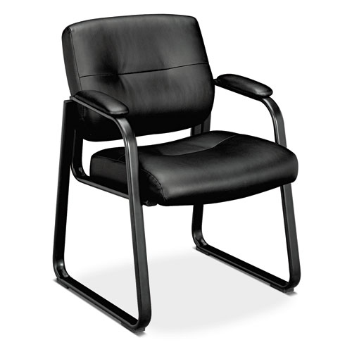 Leather Guest Chair, Padded Arms, Black