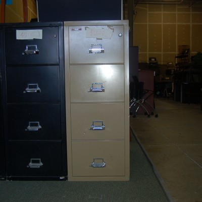 Used HON 4-drawer locking lagal file putty