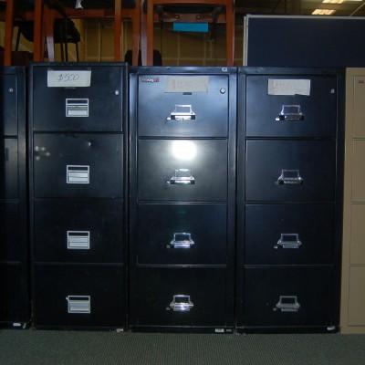 Used locking 4 drawer fire file black