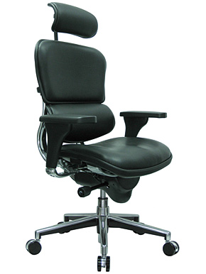 Ergonomic high back leather chair w/ head rest