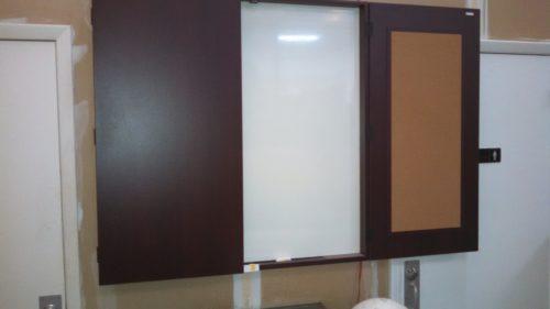 4' 2-door presentation cabinet mahogany