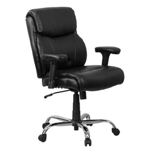 Big & tall black leather executive chair