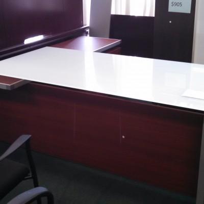 """79"""" X 73"""" glass top L-shape desk"""