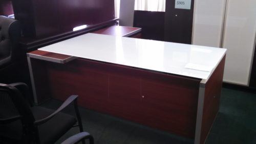 "79"" X 73"" glass top L-shape desk"