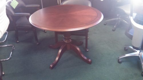 Traditional round conference table cherry veneer