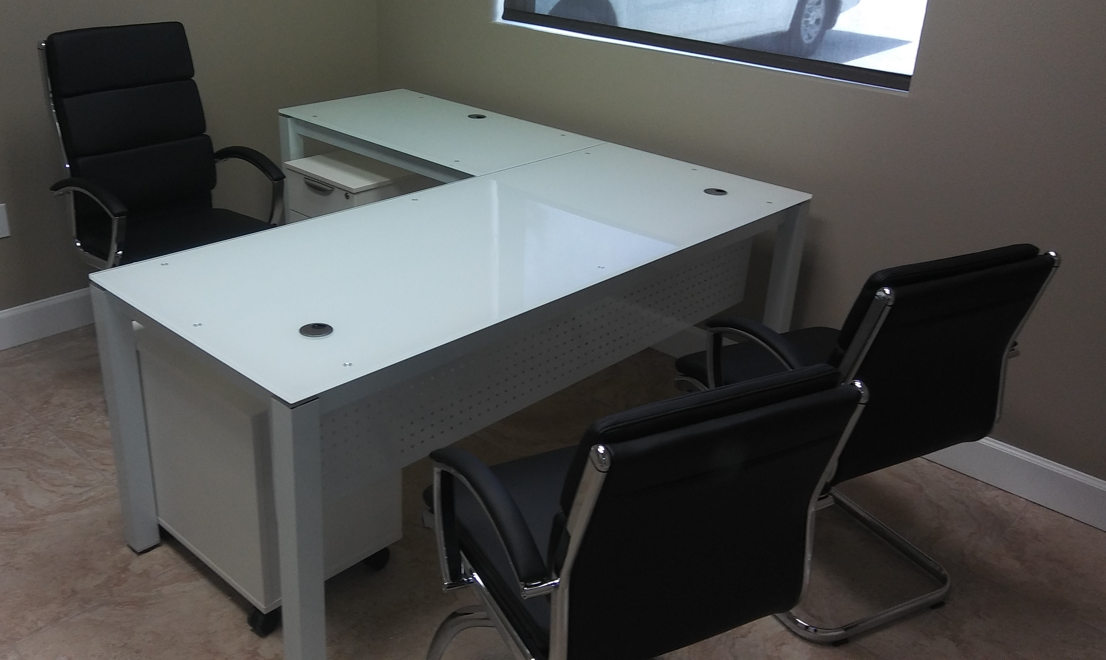 Glass L Shape Desk
