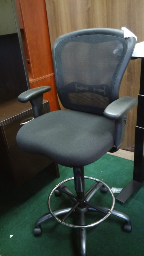 Adjustable height drafting stool with mesh back