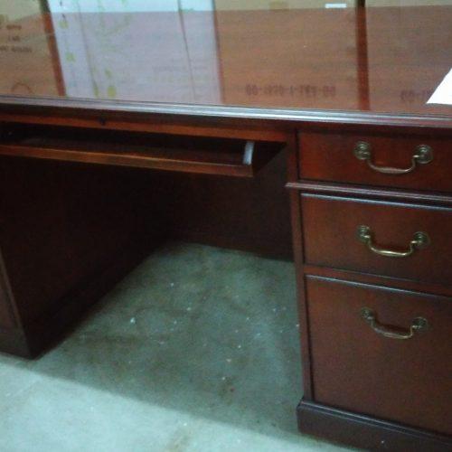 "Used Kimball Wood Veneer Traditional Desk 36"" X 72"" desk w/ 2-box/box/file drawers mahogany"