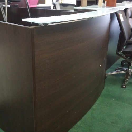 curved reception desk with glass transaction counter espresso laminate