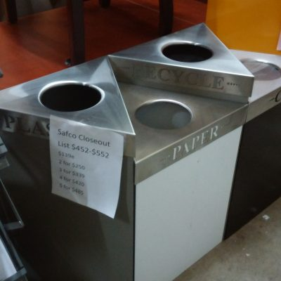 Triangle shaped Trifecta Waste/ Recycling Receptacles by Safco