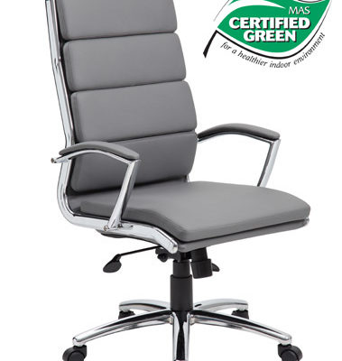 High back executive chair Upholstered with ultra-soft, durable and breathable Grey CaressoftPlus™ upholstery. Metal chrome plated arms topped with hard arm pads.