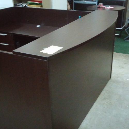 "6' x 6'6"" Reception Desk with bow front transaction counter"