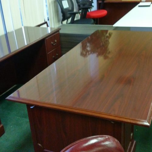 """Used HON 94000 series 36"""" x 72"""" desk with 2-box/file drawer pedestals and articulating keyboard tray 24"""" X 72"""" credenza w/ 2-box/file drawer pedestals"""