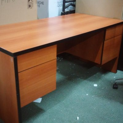 """Used 30"""" X 60"""" with 2-box/file pedestals cherry laminate with black edge"""