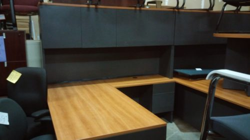 """Used Lacasse 400E 36"""" x 72"""" desk with box/file & 20"""" x 42"""" return with box/file 78"""" hutch w/ doors"""