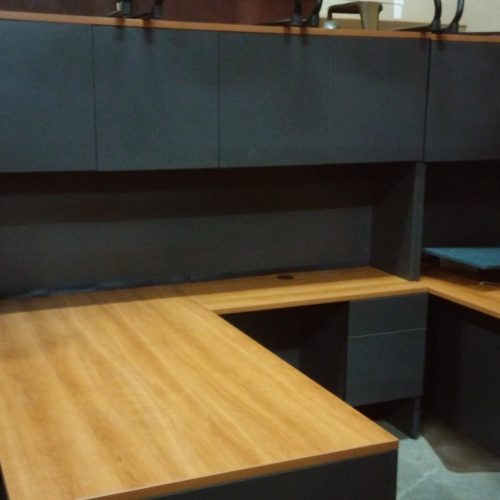 "Used Lacasse 400E 36"" x 72"" desk with box/file & 20"" x 42"" return with box/file 78"" hutch w/ doors"