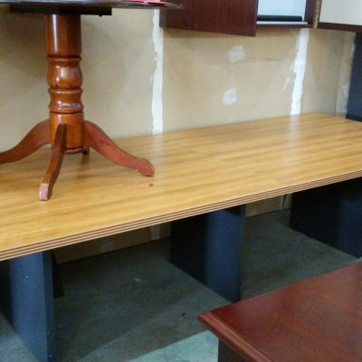 Used Lacasse 70 series 10' rectangular conference table with slab base Cherry top with charcoal base laminate