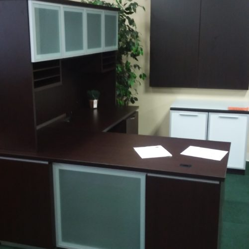 "30"" X 66"" desk with box/box/file, 24"" X 42"" return with file/file and 6' hutch with glass doors"