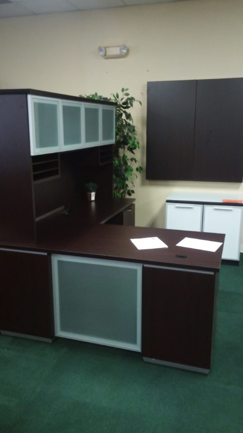 """30"""" X 66"""" desk with box/box/file, 24"""" X 42"""" return with file/file and 6' hutch with glass doors"""