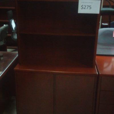 """36"""" 2-door storage cabinet with open hutch Wood Veneer Cherry with Radius edge"""