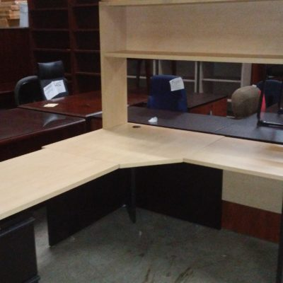 "Used corner 5' X 6'-6"" desk with box/box/file pedestal & 5' open hutch"