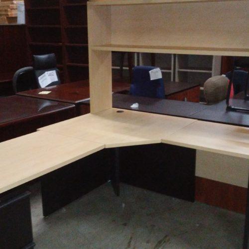 """Used corner 5' X 6'-6"""" desk with box/box/file pedestal & 5' open hutch"""