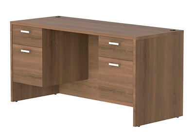 "LAMINATE 30"" x 60"" DESK W/ 2- BOX/FILE pedestals"