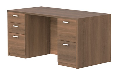 "30"" x 60"" Desk w/ box/box/file & file/file pedestals in walnut laminate"
