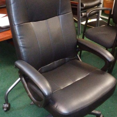High-back executive black leather office chair