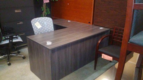 Small L-shape desk 5'x6' gray laminate