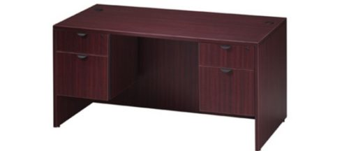 "mahogany laminate 30"" x 60"" Desk w/ 2-box/file pedestals"