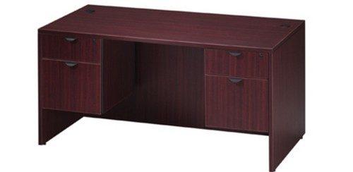 """mahogany laminate 30"""" x 60"""" Desk w/ 2-box/file pedestals"""