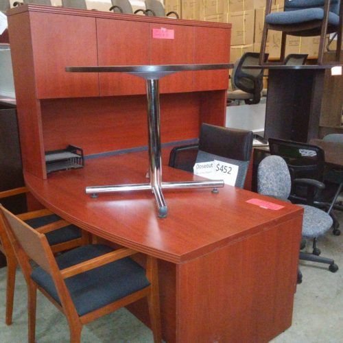 """Used 39"""" x 72"""" bow front desk with box/file & 24"""" x 42"""" right return with box/file 72"""" hutch w/ doors Cherry"""