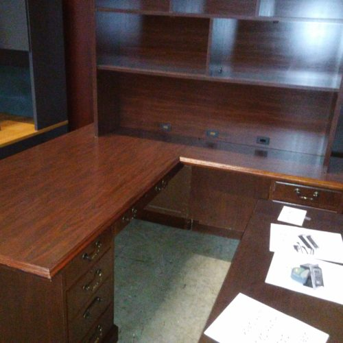 Used traditional desk & right return & hutch mahogany