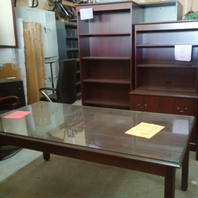 "Traditional mahogany 36"" X 72"" table desk 2-drawer lateral file with hutch, & 6' bookcase"