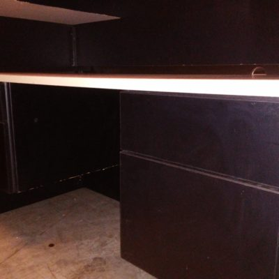 Used laminate 5' desk maple top with black base