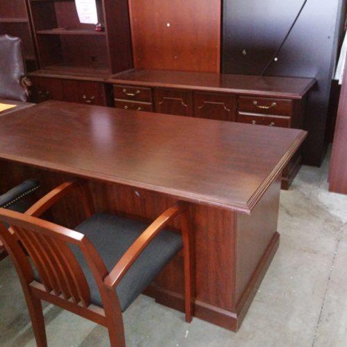 Used mahogany traditional Executive desk and credeza set