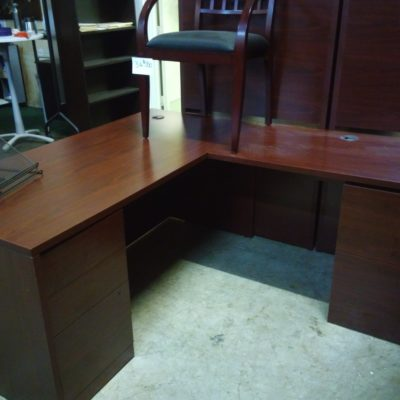 "Mahogany 30"" X 66"" desk w/ box/box/file with 24"" X 42"" return with file/file L-shape desk"
