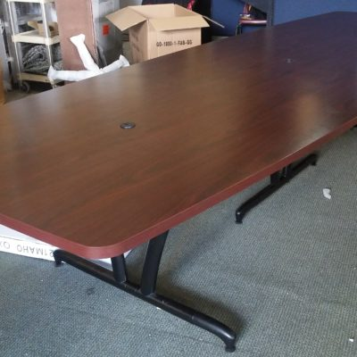 HON 12' mahogany boat-shape conference table