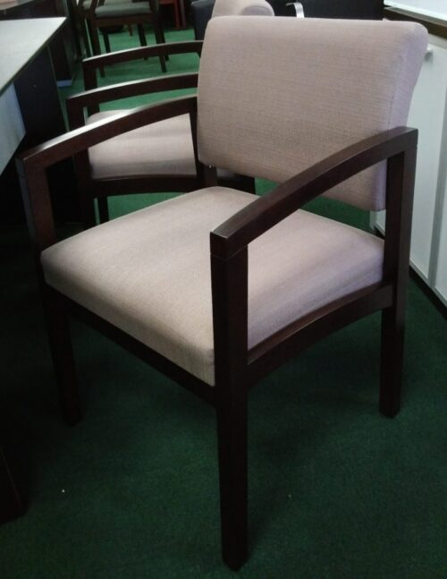 Wood guest chair with taupe fabric seat and back