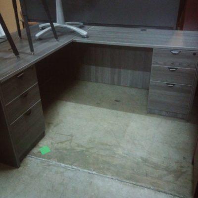 "Laminate 5'6"" x 6' L-shape desk Gray"